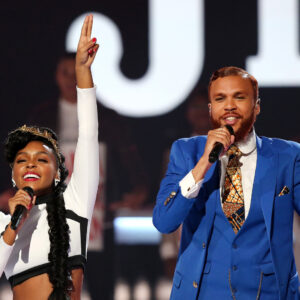 LOS ANGELES, CA - JUNE 28:  Recording artists Janelle Monae (L) and Jidenna perform onstage during the 2015 BET Awards at the Microsoft Theater on June 28, 2015 in Los Angeles, California.  (Photo by Mark Davis/BET/Getty Images for BET)
