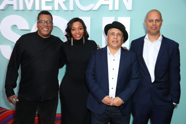 "NORTH HOLLYWOOD, CALIFORNIA - FEBRUARY 04: Producers Andy Horn, Dionne Harmon, Carl Craig and Jesse Collins attend BET's ""American Soul"" Los Angeles Premiere on February 04, 2019 in North Hollywood, California. (Photo by Leon Bennett/Getty Images for BET )"