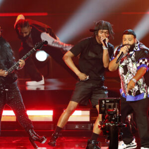 LOS ANGELES, CALIFORNIA - JUNE 27: (L-R) H.E.R., Lil Baby, and DJ Khaled perform onstage at BET Awards 2021 at Microsoft Theater on June 27, 2021 in Los Angeles, California. (Photo by Johnny Nunez/Getty Images for BET)