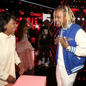 LOS ANGELES, CALIFORNIA - JUNE 27: (L-R) Congresswoman Maxine Waters and Lil Durk attend the BET Awards 2021 at Microsoft Theater on June 27, 2021 in Los Angeles, California. (Photo by Johnny Nunez/Getty Images for BET)