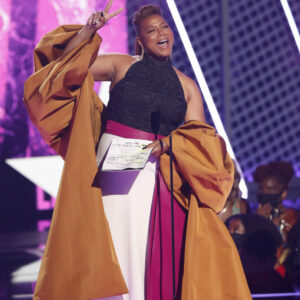 LOS ANGELES, CALIFORNIA - JUNE 27: Queen Latifah accepts the Lifetime Achievement BET Award onstage at the BET Awards 2021 at Microsoft Theater on June 27, 2021 in Los Angeles, California. (Photo by Johnny Nunez/Getty Images for BET)