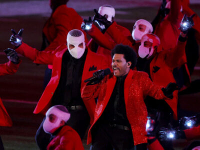 TAMPA, FLORIDA - FEBRUARY 07: The Weeknd performs during the Pepsi Super Bowl LV Halftime Show at Raymond James Stadium on February 07, 2021 in Tampa, Florida. (Photo by Kevin C. Cox/Getty Images)