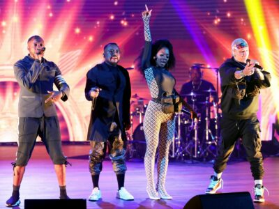 """LOS ANGELES, CALIFORNIA - MAY 21: (L-R) In this image released on May 21, 2021, will.i.am, apl.de.ap, J. Rey Soul, and Taboo of Black Eyed Peas perform onstage at the """"See Us Unite for Change - The Asian American Foundation (TAAF) in service of the AAPI Community"""" Broadcast Special in Los Angeles, California. (Photo by Rich Fury/Getty Images for See Us Unite)"""