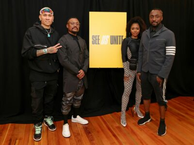 """LOS ANGELES, CALIFORNIA - MAY 21: (L-R) In this image released on May 21, 2021, Taboo, apl.de.ap, J. Rey Soul, and will.i.am of Black Eyed Peas attend the """"See Us Unite for Change - The Asian American Foundation (TAAF) in service of the AAPI Community"""" Broadcast Special in Los Angeles, California. (Photo by Rich Fury/Getty Images for See Us Unite)"""