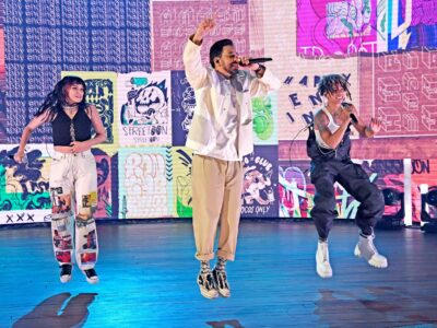 """LOS ANGELES, CALIFORNIA - MAY 21: (L-R) In this image released on May 21, 2021, UPSAHL, Mike Shinoda, and iann dior perform onstage at the """"See Us Unite for Change - The Asian American Foundation (TAAF) in service of the AAPI Community"""" Broadcast Special at the La Palmas in Los Angeles, California. (Photo by Kevin Mazur/Getty Images for See Us Unite)"""